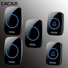 CACAZI Wireless Doorbell 100-240V Waterproof Door Bell 38 Rings 3 Volume Door ch