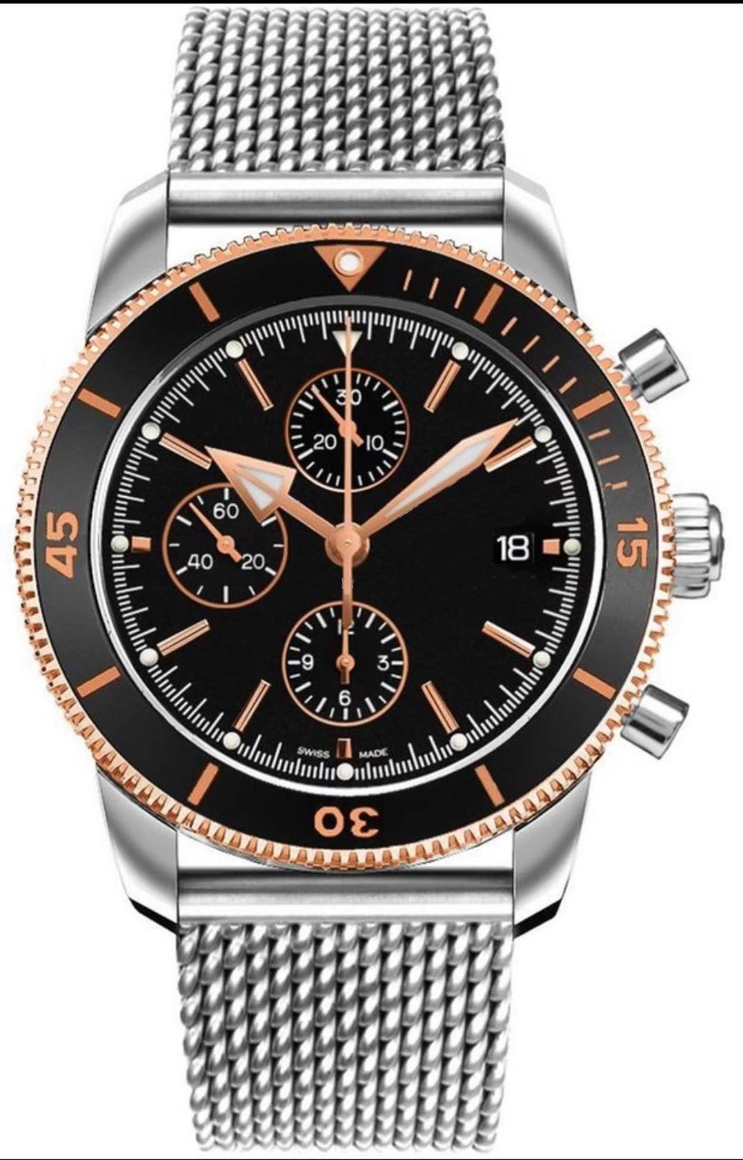 Luxury Brand New Quartz Chronograph Men Stopwatch Sapphire Crystal Japanese Rotatable Ceramic Bezel Sport Silver Rose Gold Watch