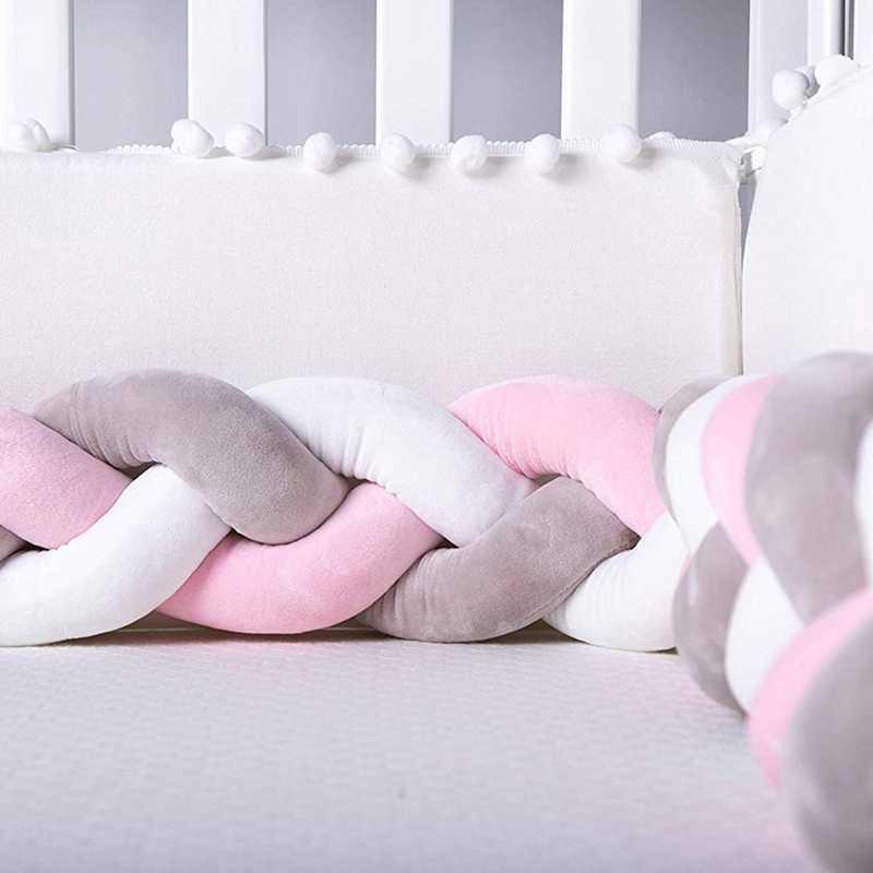 Parachoques de cuna de bebé trenzado anudado cuna de felpa decoración regalo de recién nacido almohada cojín Junior cama dormir parachoques (2 metros, blanco