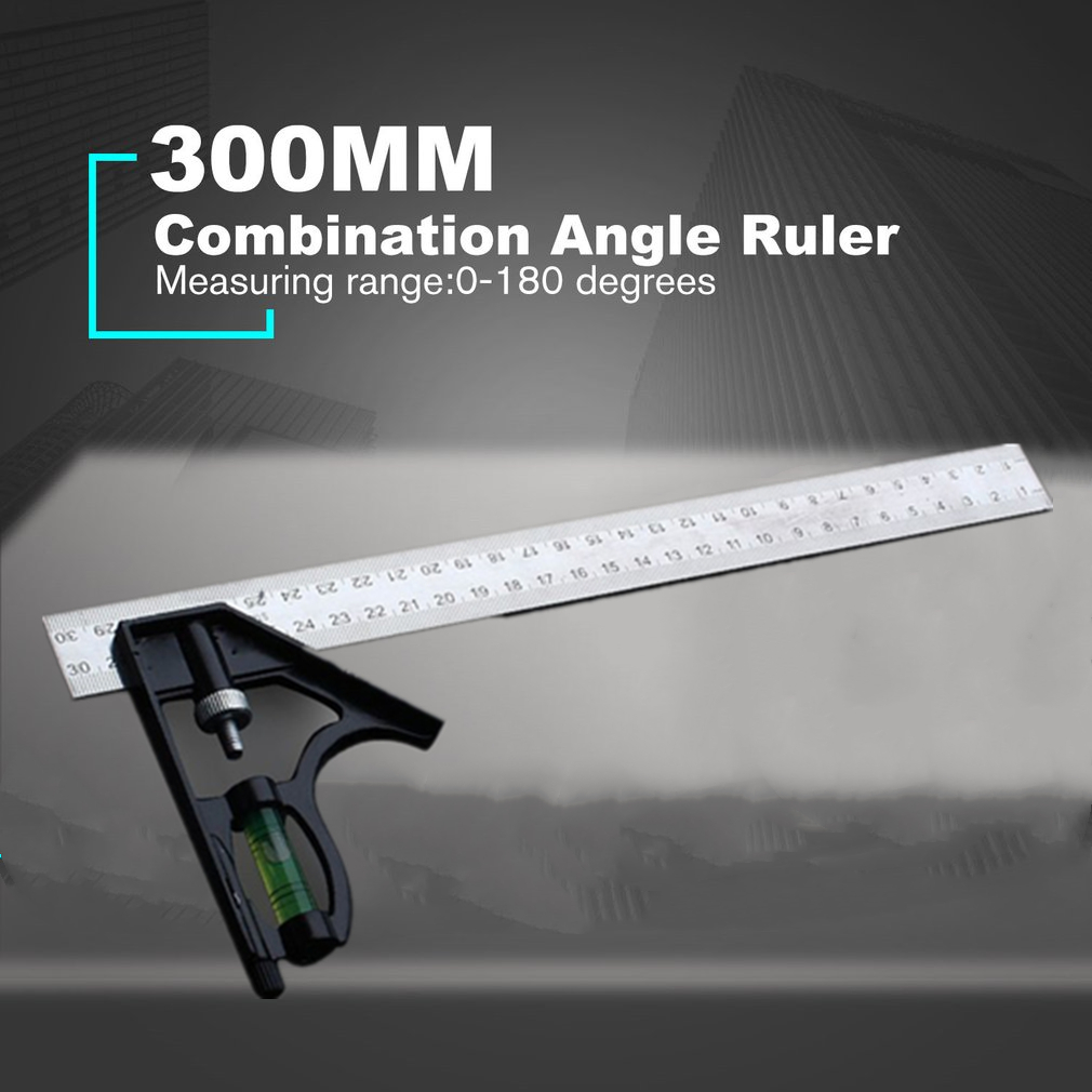 300MM Multifunctional Adjustable Combination Square Angle Ruler 45/90 Degree With Bubble Level Gauge Measuring Tools
