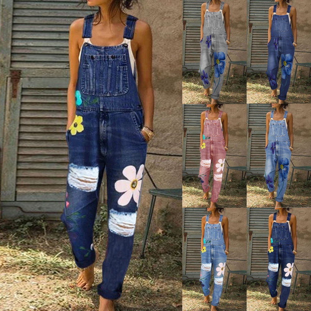 2020 New Summer Women Long Jumpsuits Fashion Flowers Printed Jeans Short Romper Casual Floral Pocket Playsuit Denim Overalls