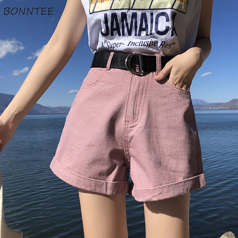 Shorts Women High Quality Summer Streetwear Denim Loose Trendy Simple Korean Style All-match Womens Casual Chic Kawaii With Belt