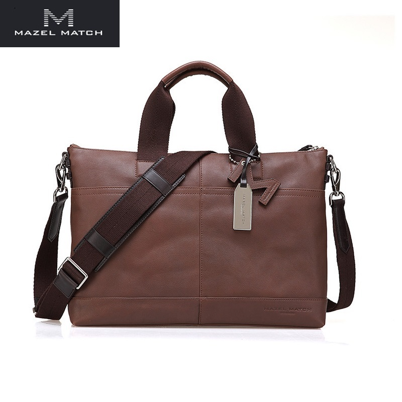 Business Style Genuine Leather Men's Large Briefcase Top-handle Handbag Authentic Real Cow Skin Male Single Cross Shoulder Bag