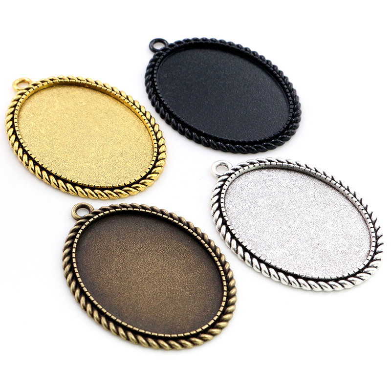 New Fashion 5pcs 30x40mm Inner Size Antique Silver Plated Bronze And Black Simple Style Cabochon Base Setting Pendant