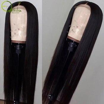 Steril 4x4 Dantel Kapatma Peruk Brezilyalı Dantel Ön İnsan Saç Peruk Siyah Kadınlar Için Remy Saç Düz Dantel ön peruk Bebek saç Ile