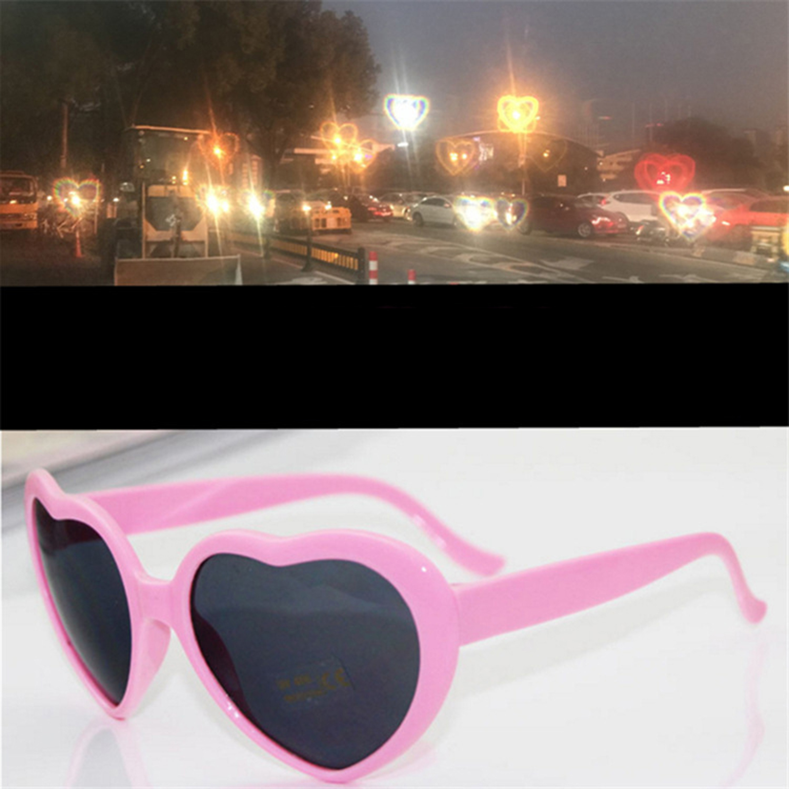1pc Red Heart Shape Diffraction Grating Party Rave Glasses Plastic, Orbit Light Show Fireworks Refraction Laser Glasses