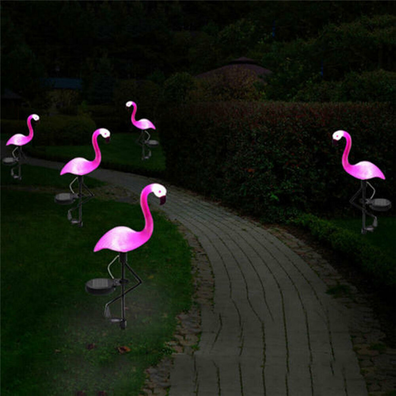 Pink Flamingo Solar Power Lawn Dector Garden Stake Landscape Lamp Outdoor Light
