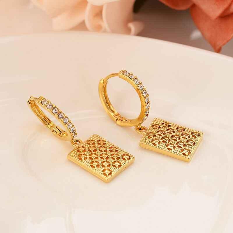 24 k สีเหลืองทอง GF square brilliant CZ ต่างหูเรขาคณิตผู้หญิง/สาว Love Trendy เครื่องประดับงานแต่งงานวันเกิด