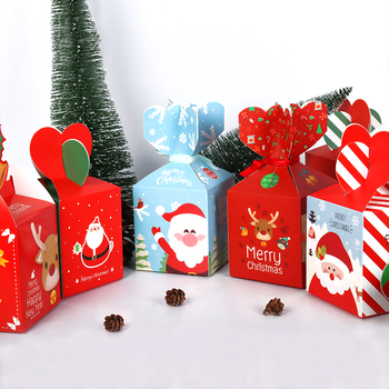 Christmas Decoration Gift Box Merry Christmas Candy Box Navidad New Year 2020 Gift Bag for home Christmas Ball Natal Xmas Wooden 1
