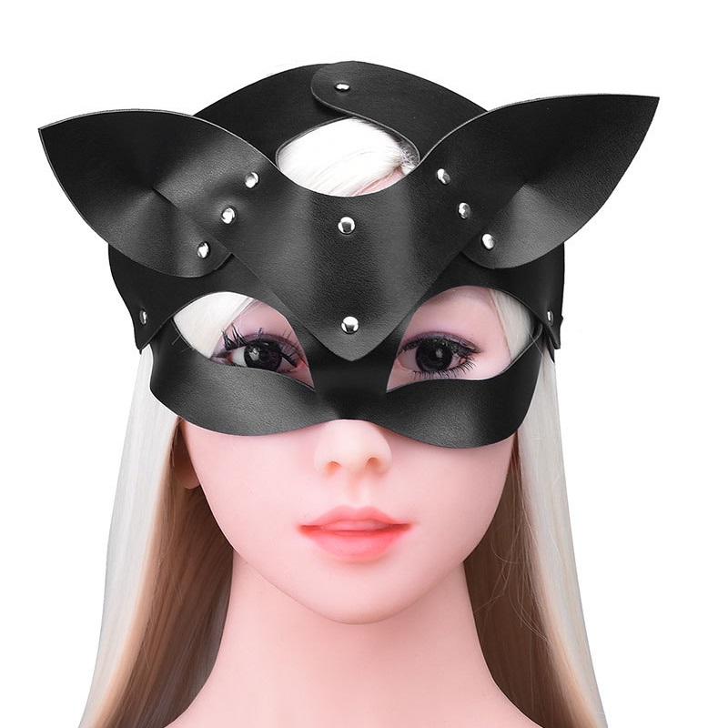 Sexy 3D Dog Ear Fox Eye Mask Black Red Leather Sex Accessories for SM Game Restraints Add Interest Performance Bondage image