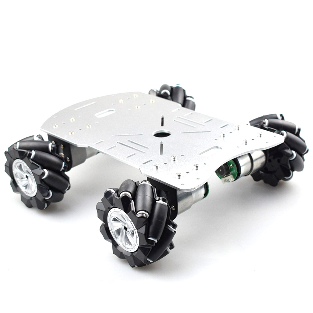 New 80mm Mecanum Metal Platform Kit DIY Omni-Directional Mecanum Wheel Robot Car Without Electronic Control - Silver