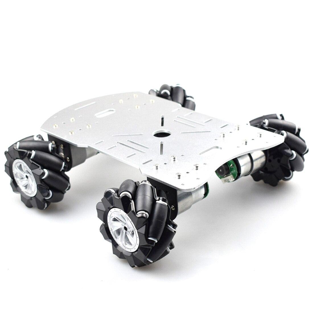 New 80mm Mecanum Metal Platform Kit DIY Omni-Directional Mecanum Wheel Robot Car Without Electronic Control - Silver