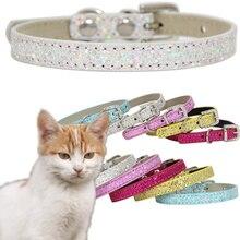 Ошейник для питомца кошки модный Регулируемый ошейник для котенка кошки с блестками шейный ремень аксессуары для животных принадлежности
