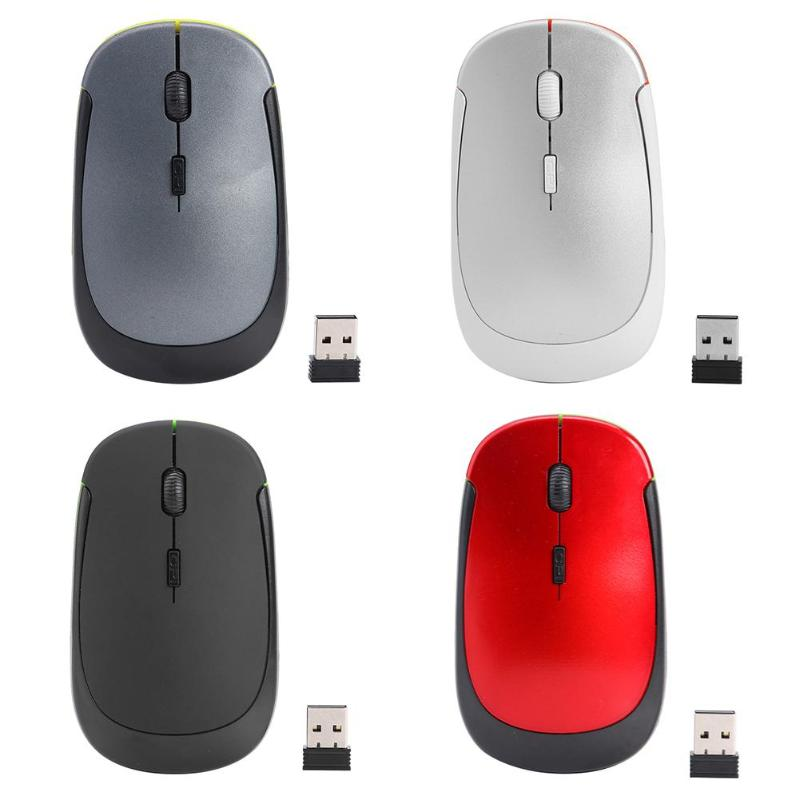 Ultra-thin 2.4G Wireless Mouse 4 Button 1600DPI Optical Mouse Portable Wireless Home Office Mice W/USB Receiver For PC Laptop