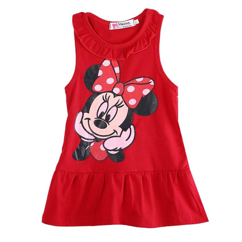 Vestido da menina do bebê 2020 verão 100% algodão topos sem mangas vestido dos desenhos animados moda vestido do bebê dos desenhos animados topos dressd 5
