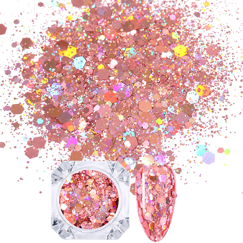 1 Box Holographics Nail Glitter Powder MIxed Butterfly Star Colorful Irregular Flakes Sequins Nail Art Decorations Palliette