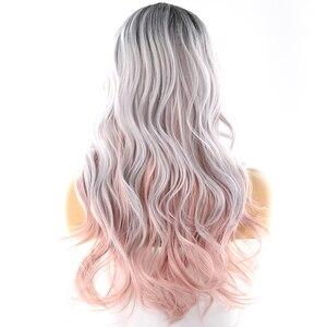 Image 3 - Platin Rosa Ombre Farbe Synthetische Haar Perücken Seite Teil Für Frauen X TRESS Lange Wellenförmige Tiefe Unsichtbare Spitze Teil Perücke Mit pony
