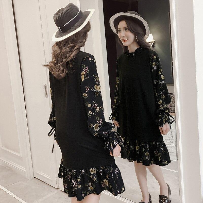 New Style 2018 Plus-sized WOMEN'S Dress Fat Mm Fake Two-Piece Floral-Print Chiffon Dress 200