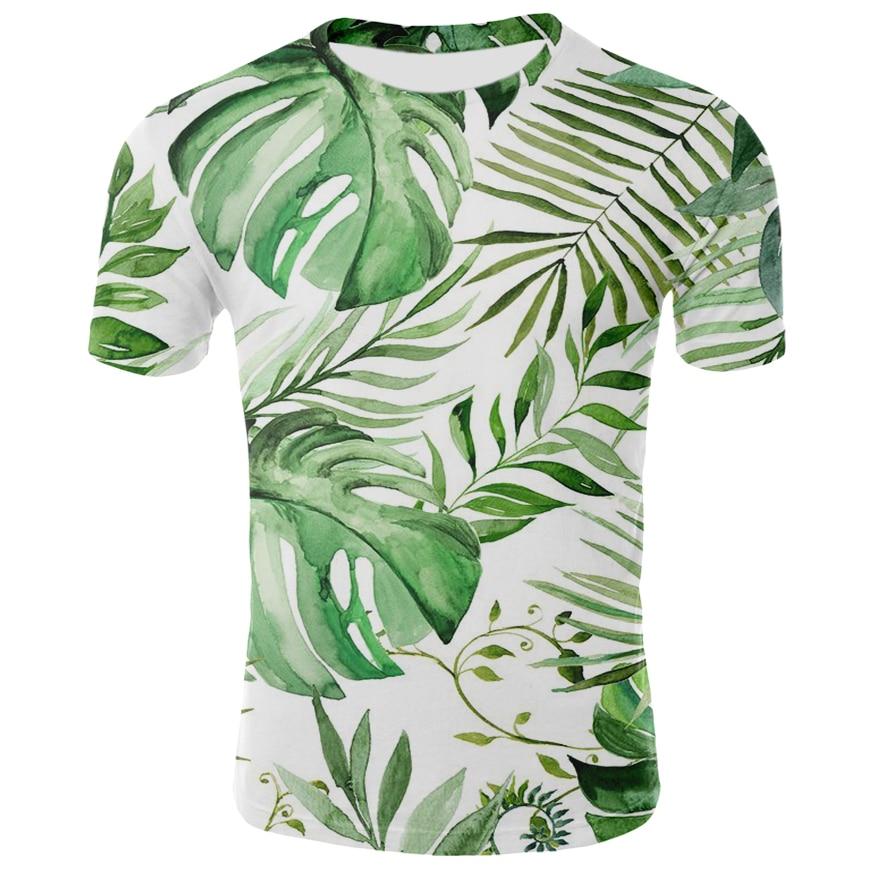 Green Leaves T Shirt Men/Women Short Sleeve Summer Tees Casual Style Milk Silk Round Collar Tops 3D Leaf Print T-shirt