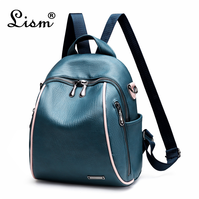 Backpack Luxury High Quality PU Leather Ladies Backpack 2019 New Shell Bag Youth Girl Bag Travel Bag 4 Color