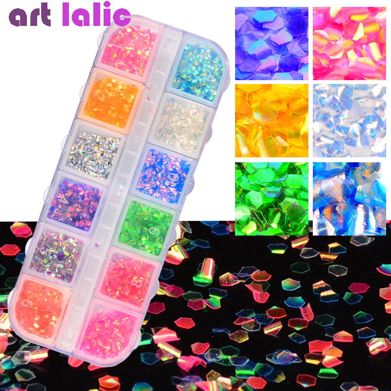 12 Styles Nail Art Fakes Sequins Paillette 3D Laser Glitter Mermaid Hexagon Nails Decorations DIY Manicure Tips Decor
