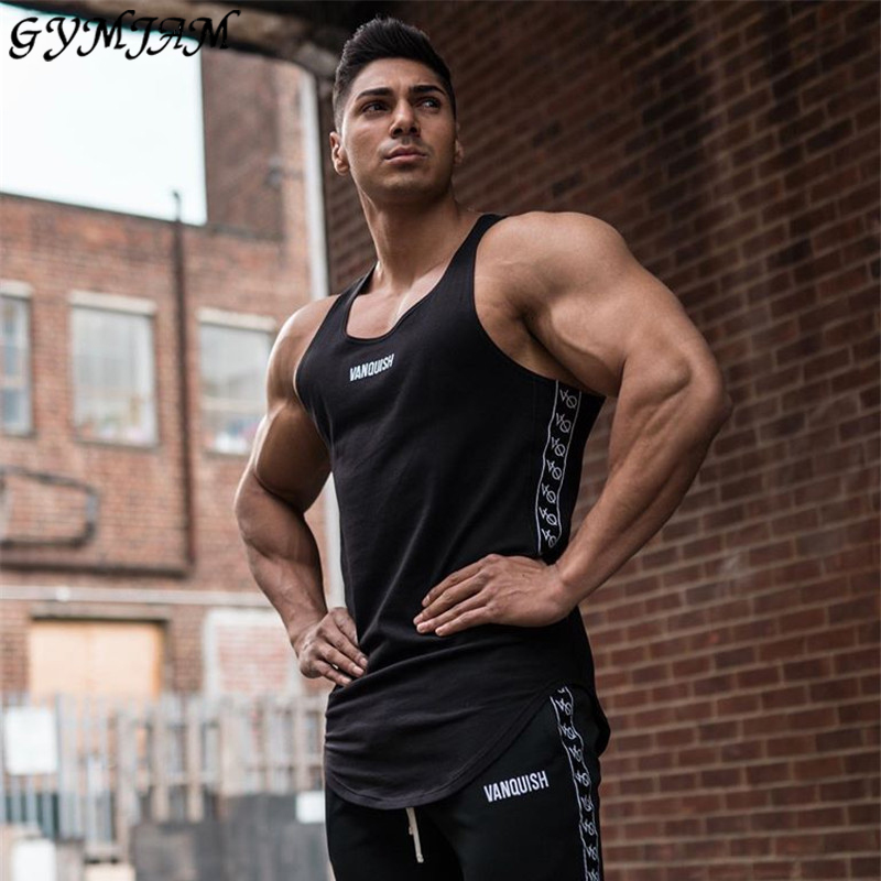 2020 Cotton Printed Sling Streetwear Casual Men's Vest Jogger Brand Enters Men's Fitness Sports Tops Fashion Fitness Sportswear
