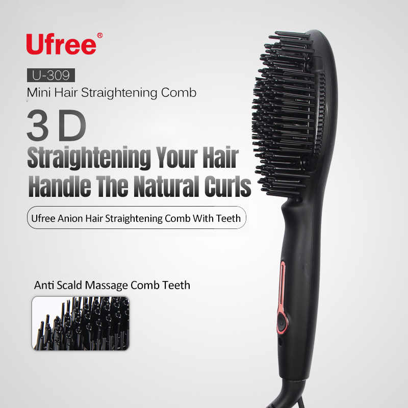 Ufree מיני אניון לא לפגוע שיער ישר שיער מסרק טורמלין קרמיקה שיער מחליק טמפרטורה קבועה
