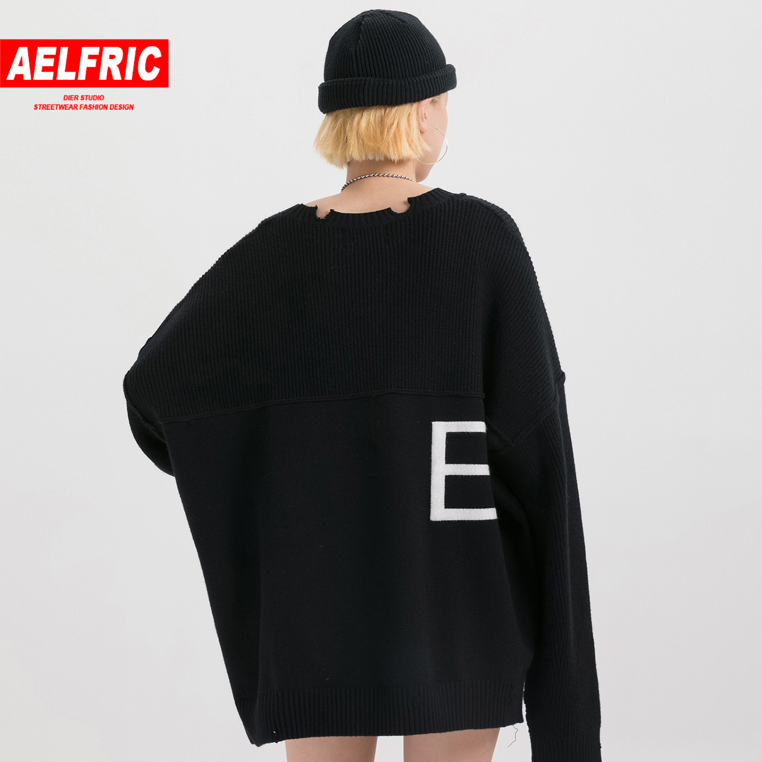 Aelfric Vintage Letter Knitted Hole Women Gothic Sweater Harajuku Hip Hop Tops Fashion Casual Famale Pullover Outwear Streetwear