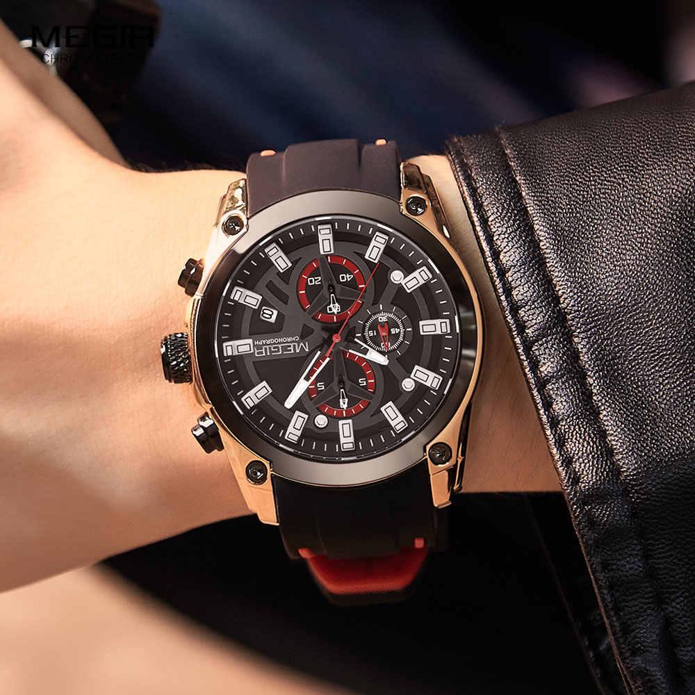 Megir moda relógios men silicone pulseira cronógrafo relógio de quartzo luxo marca superior militar esporte relógio de pulso luminosa à prova dwaterproof água