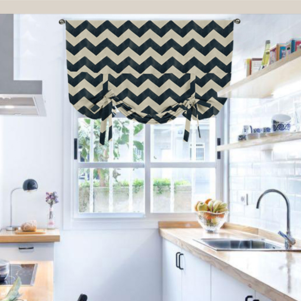 Didihou Nordic Geometric Blackout Short Curtains Kitchen Window Treatments Jacquard Striped Roman Curtain For Door Home Curtains Aliexpress