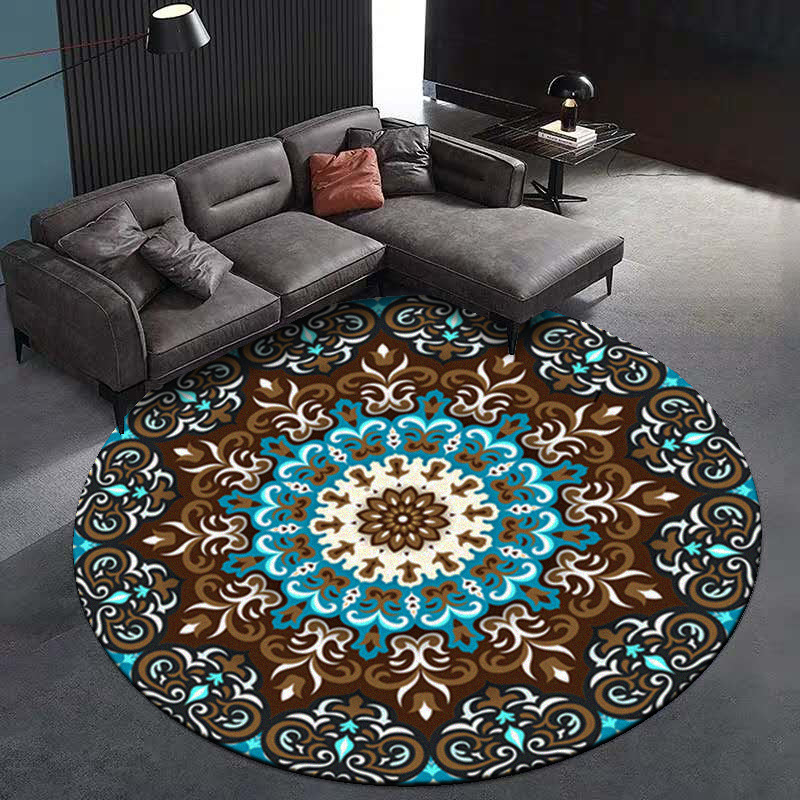 Carpet Coral Velvet Computer Chair Floor Mat Mandala Printed Round Carpet For Children Bedroom Play Tent Area Rug Round Blue