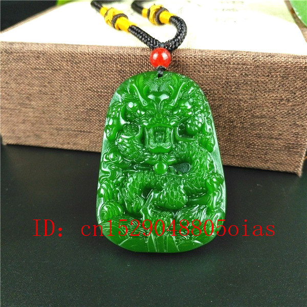 Natural Green Chinese Jade Dragon Pendant Necklace Fashion Charm Jewelry Carved Amulet Gifts For Women Men