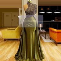 Vestido De noche De sirena De cuello alto De color verde brillante con cuentas De longitud hasta el suelo vestido De lentejuelas Aibye Arabia Saudita 2020 Dubai