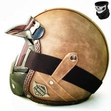 HOT Open Face helmet motorcycle 2018 mask DOT approved visor PU leather vintage Motorbike Headgear Casque Casco Harley helmet цена в Москве и Питере