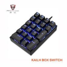 лучшая цена 2019 New Motospeed K23 USB wired Numeric Mechanical Keyboard with Kailh Box Switch Black Blue LED Backlight 21 Keys laptop