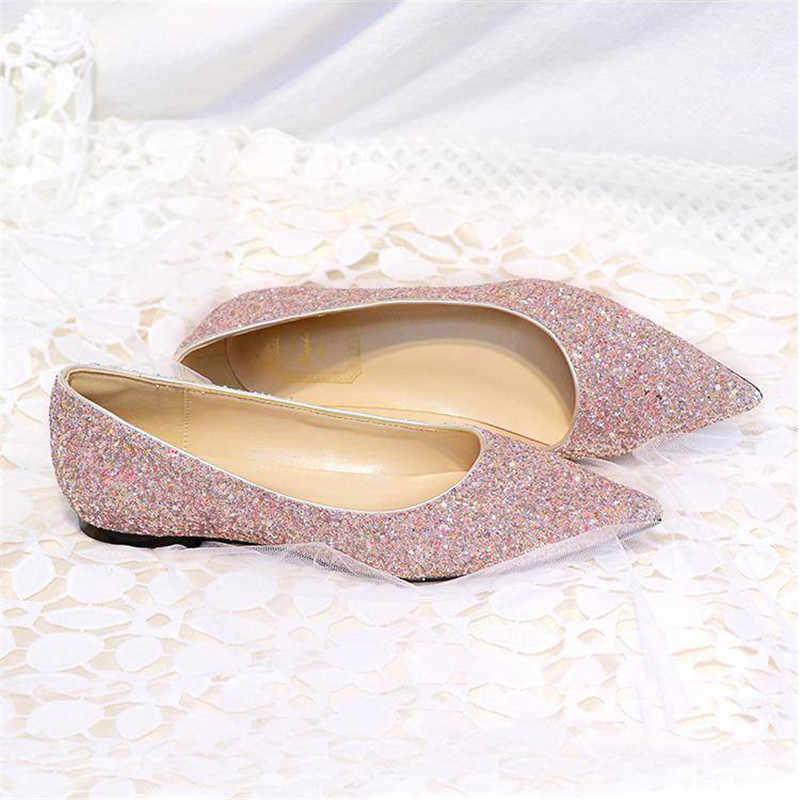Plus Size 31-44 Thời Trang Kinh Điển Bạc Bling Lấp Lánh Đế Bằng Nữ Mũi Nhọn Dẹt Cho Nữ Mới Đầm Dự Tiệc đầm Giày