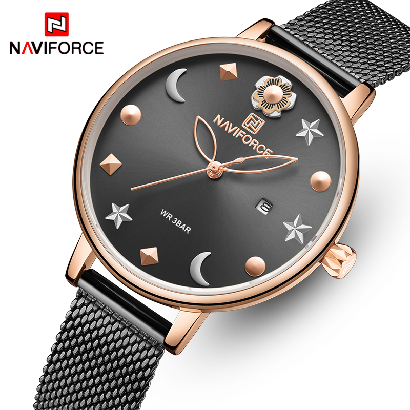 NAVIFORCE Women's Watches Luxury Brand Simple Quartz Ladies Wristwatch Waterproof Fashion Casual Watches Girl Clock Reloj Mujer