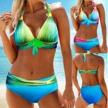 Halter Swimwear Women Gradient Blue Swimsuit Plus Size 2XL Tankini Lower Waist Bottom 2Pcs Bikini Set Cutout Back Beachwear open back halter frill trim tankini set