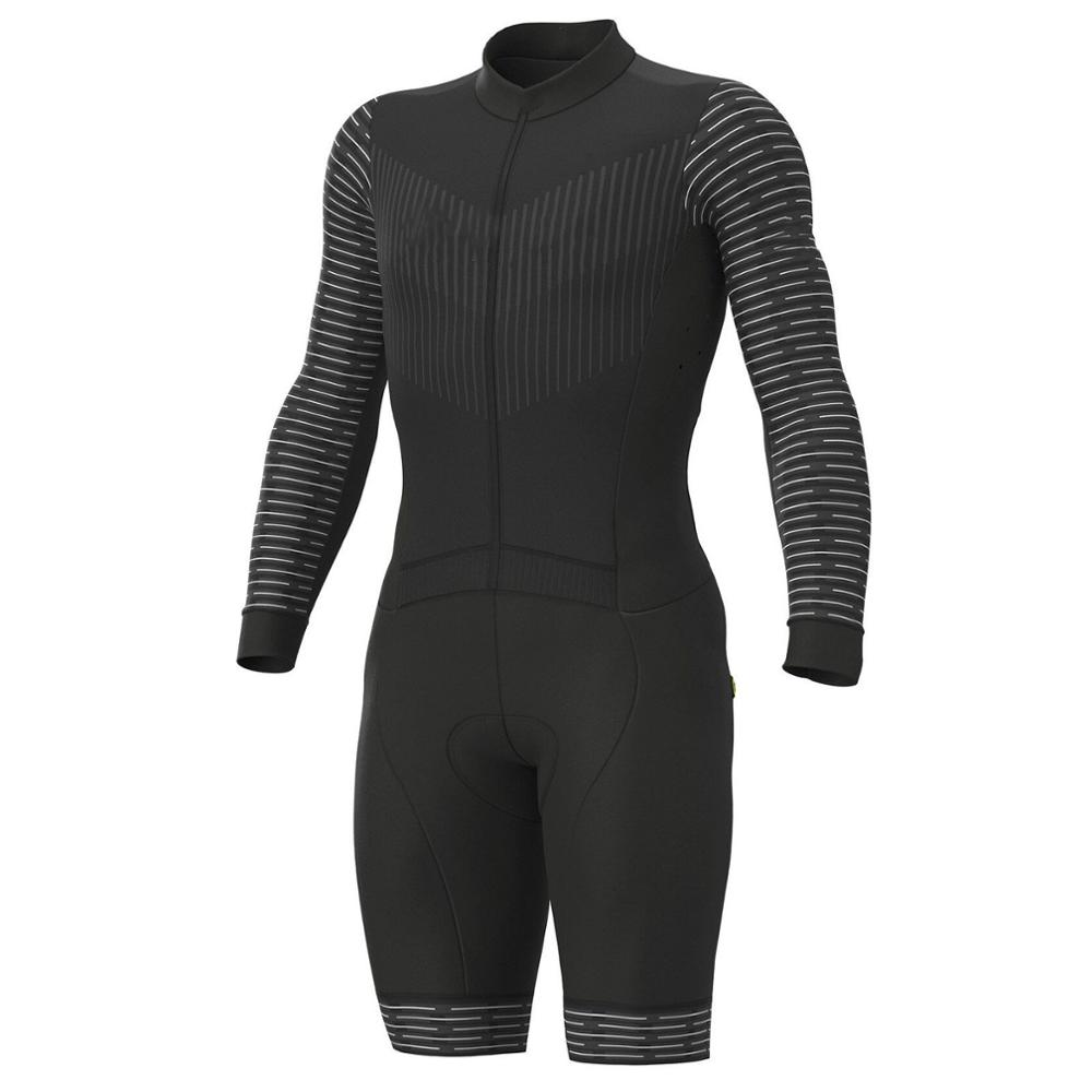 2019 Pro Team Triathlon Suit Men's Black Long Sleeve Cycling Jersey Skinsuit Jumpsuit Maillot Cycling Ropa Ciclismo