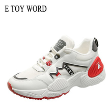 E TOY WORD 2019 New Womens Chunky Sneakers Fashion Women Platform White Shoes Breathable Mesh Thick Sole Running