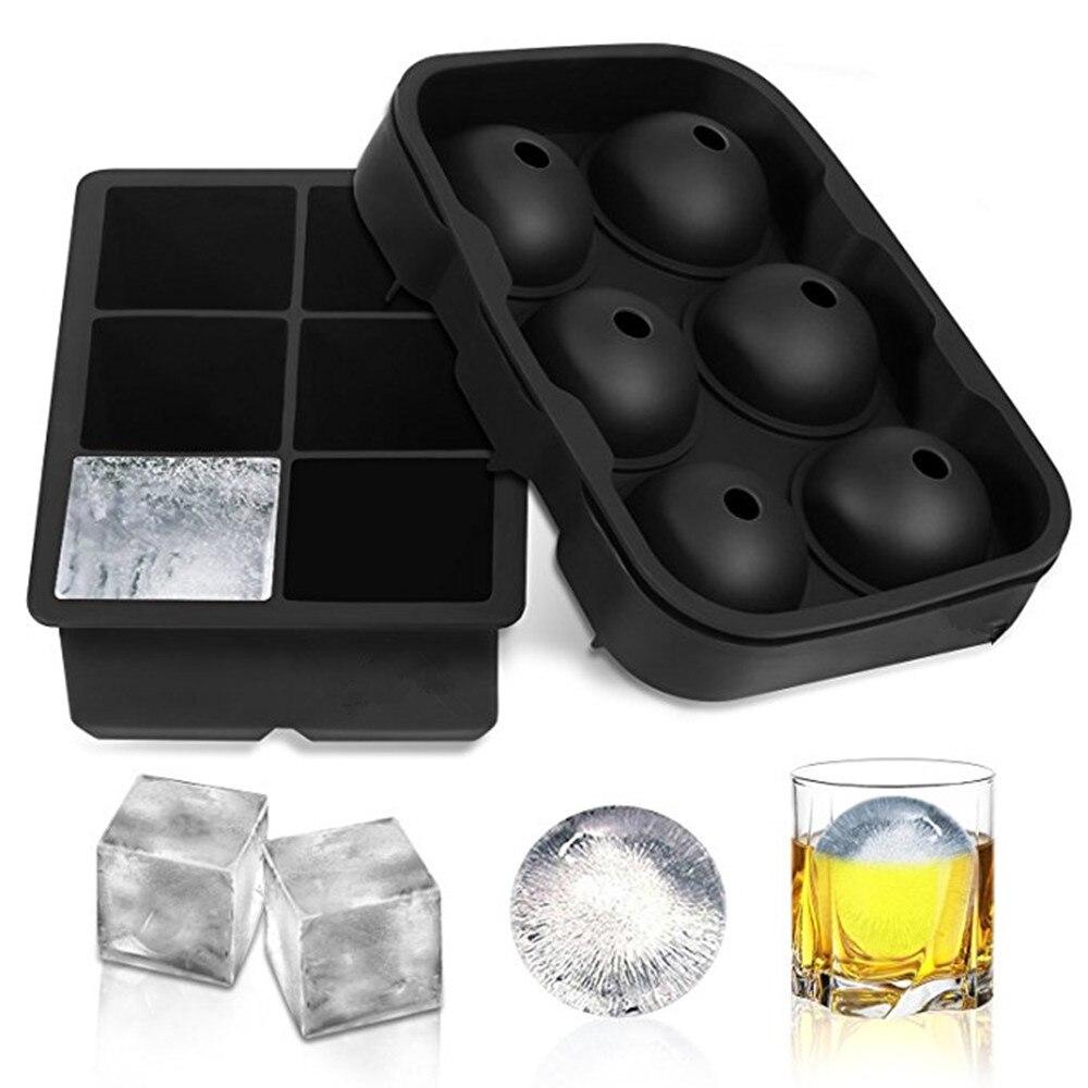 2 шт Замороженные 6 силиконовых ледяных шариков 6 квадратных ледяных кубиков лоток Силиконовая Сфера ледяной формы форма шарика производитель Кухня Бар питьевой аксессуары