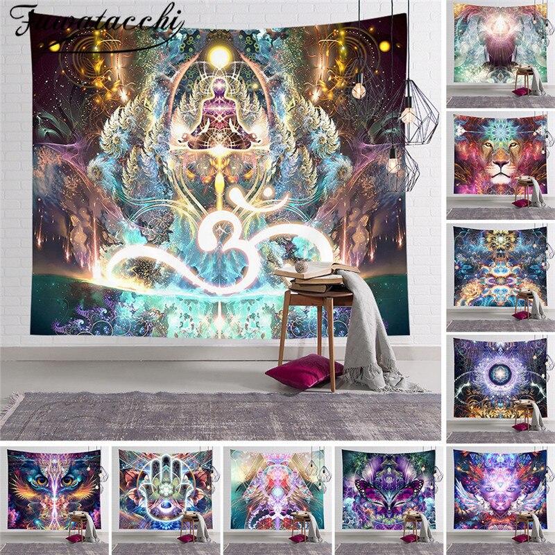 Fuwatacch IIndian Buddha Statue Meditation Tapestry Wall Hanging Mandala Tapestries Wall Cloth Psychedelic Yoga Carpet Boho Dec