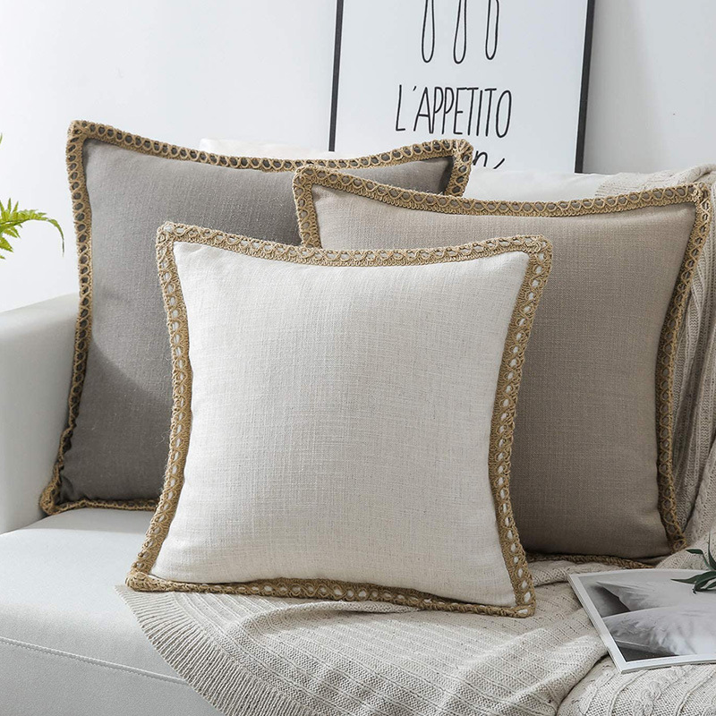 30x50/45x45cm Linen Edge Cushion Cover Solid Color Linen Fabric Pillowcase Jute Trimmed Pillow Cover For Backrest