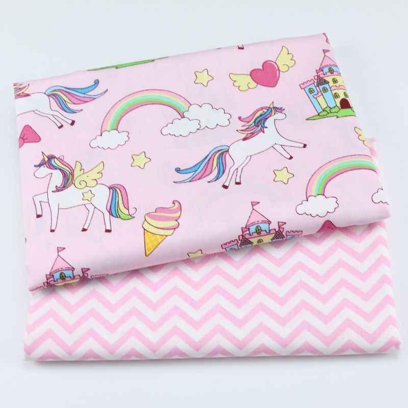 2 sztuk jednorożec, niedźwiedź bawełna Twill tkanina z nadrukiem pakiet dla dziecka dziecko Patchwork pikowania tłuszczu ćwiartki tkanina do szycia DIY