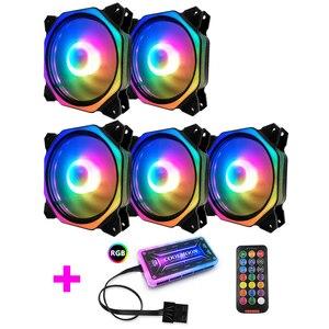 COOLMOON MONGFANG2 чехол для компьютера PC охлаждающий вентилятор RGB Настройка 120 мм тихий + ИК-пульт дистанционного управления Новый кулер для компью...