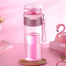 Factory Direct Double Layer Glass Cup Department Store Sports Bottle Creative Gift Tea Cup  tea bottle  water bottle office business glass water bottle portable double wall glass tea bottle with tea infuser creative transparent glass gift bottle