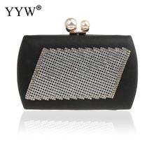YYW Womens Beaded Crystal Clutch black Rhinestone Evening Bag Wedding Bridal Prom Purse Clutches Handbag pochette femme