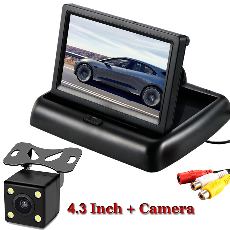 Auto Monitor 4,3 zoll Faltbare TFT LCD Display Rückansicht Rückfahr Kamera Spiegel Einparkhilfe Rück Monitore NTSC PAL