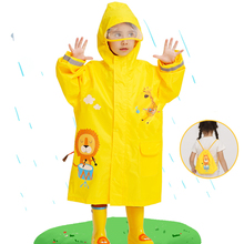 New Cartoon Lion Children Raincoat Baby Windproof Poncho Boys Girls Rainwear Yellow 2-14 Year Student Tour Raincoat With Bag