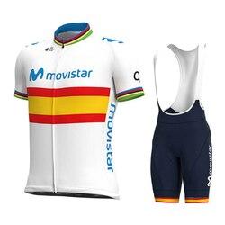 2020 nowy mistrz świata Movistar rowerowa jazda na rowerze oddychająca koszulka 19D poduszka żelowa wyścigi rowerowe tkaniny jazda na rowerze Jersey Maillot|Zestawy rowerowe|Sport i rozrywka -